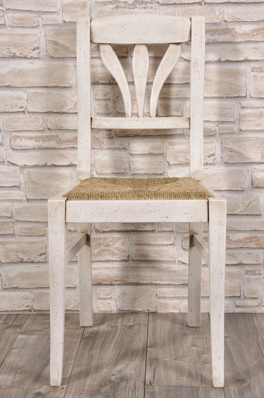 sedia tirolese artigianale laccata bianco anticato