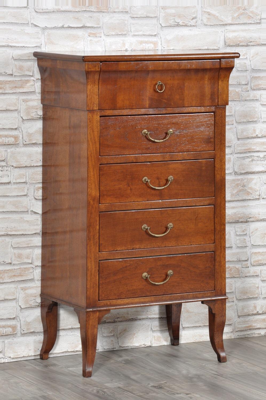 cassettiera in legno pregiato di noce massello con gambe a sciabola riprodotta in stile impero