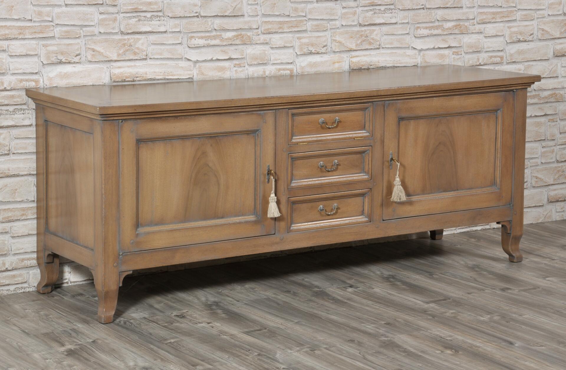 Porta tv cassapanca di lusso costruita in stile classico lombardo veneto noce massello con - Mobili legno ikea ...