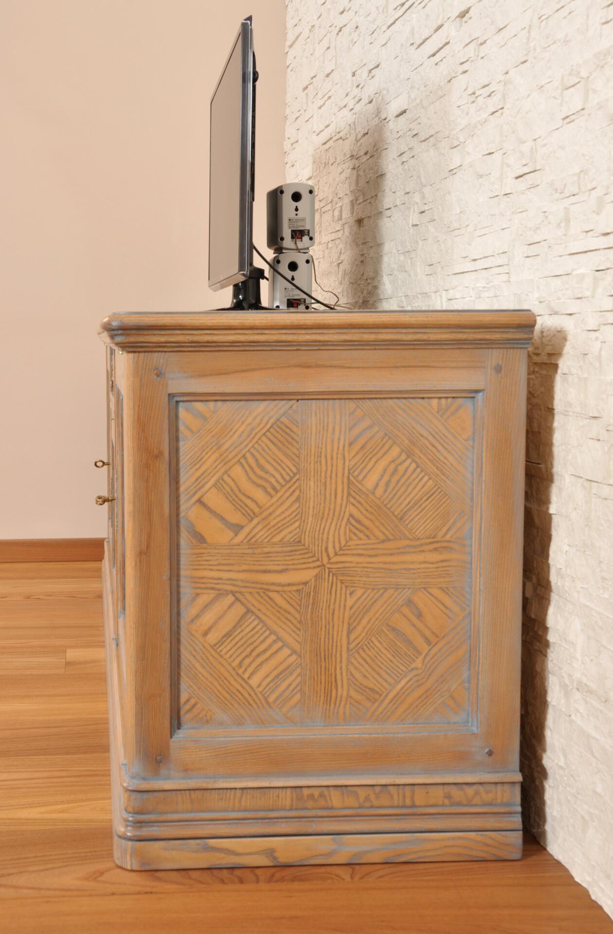 Porta tv – cassapanca intarsiata in legno pregiato di frassino e ...
