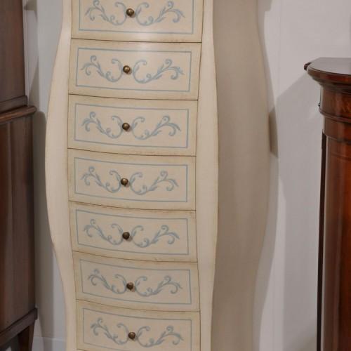 cassettiera bombata e decorata in legno massello laccata bianco e azzurro con barocchi
