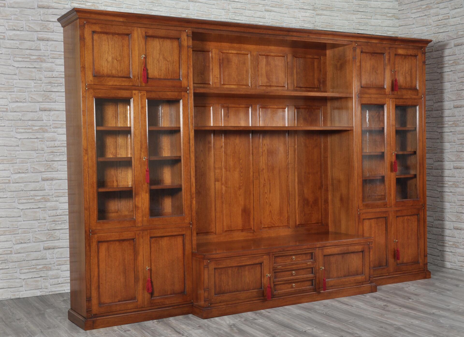 Libreria porta tv di grandi dimensioni costruita in stile for Piani di libreria stile artigiano