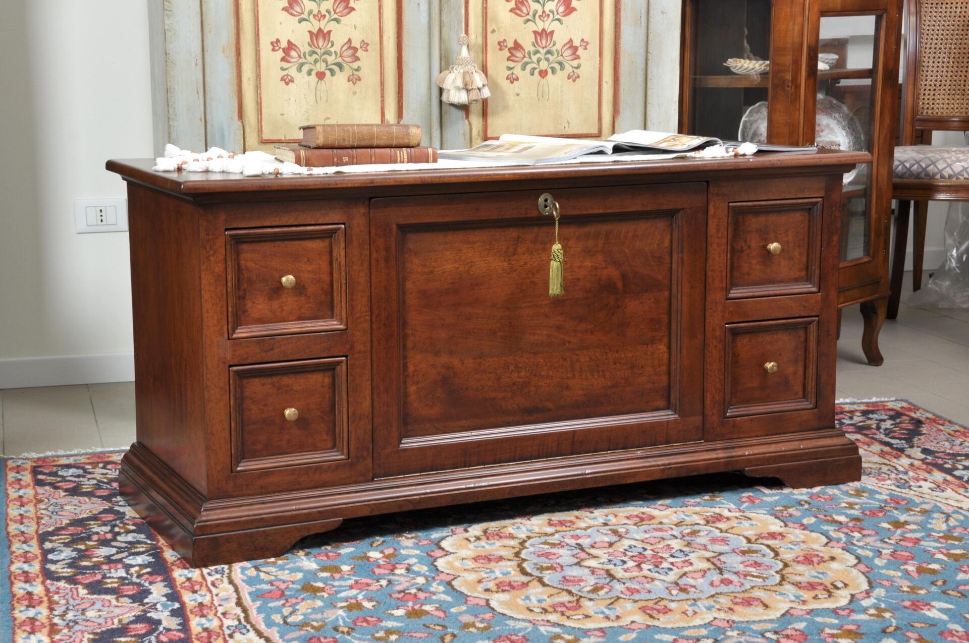 Cassapanca porta tv da salotto con cassetti e ribalta for Cassapanca 800 noce