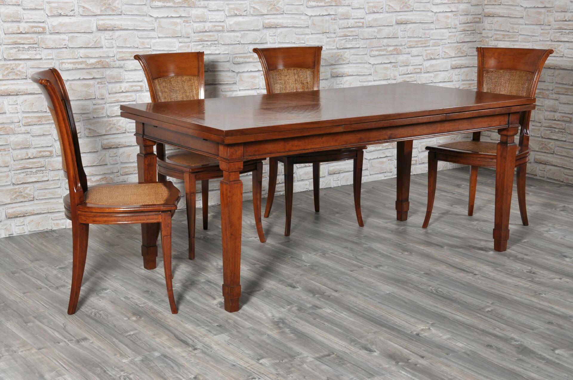 Tavolo rettangolare intarsiato in legno pregiato di noce for Tavolo legno intarsiato