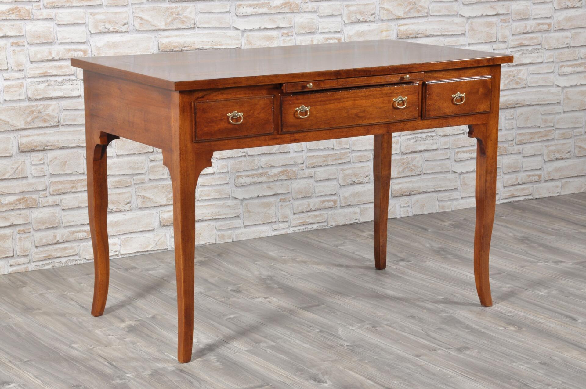 Tavolo scrivania intarsiato a 3 cassetti con gambe a for Tavolo legno intarsiato