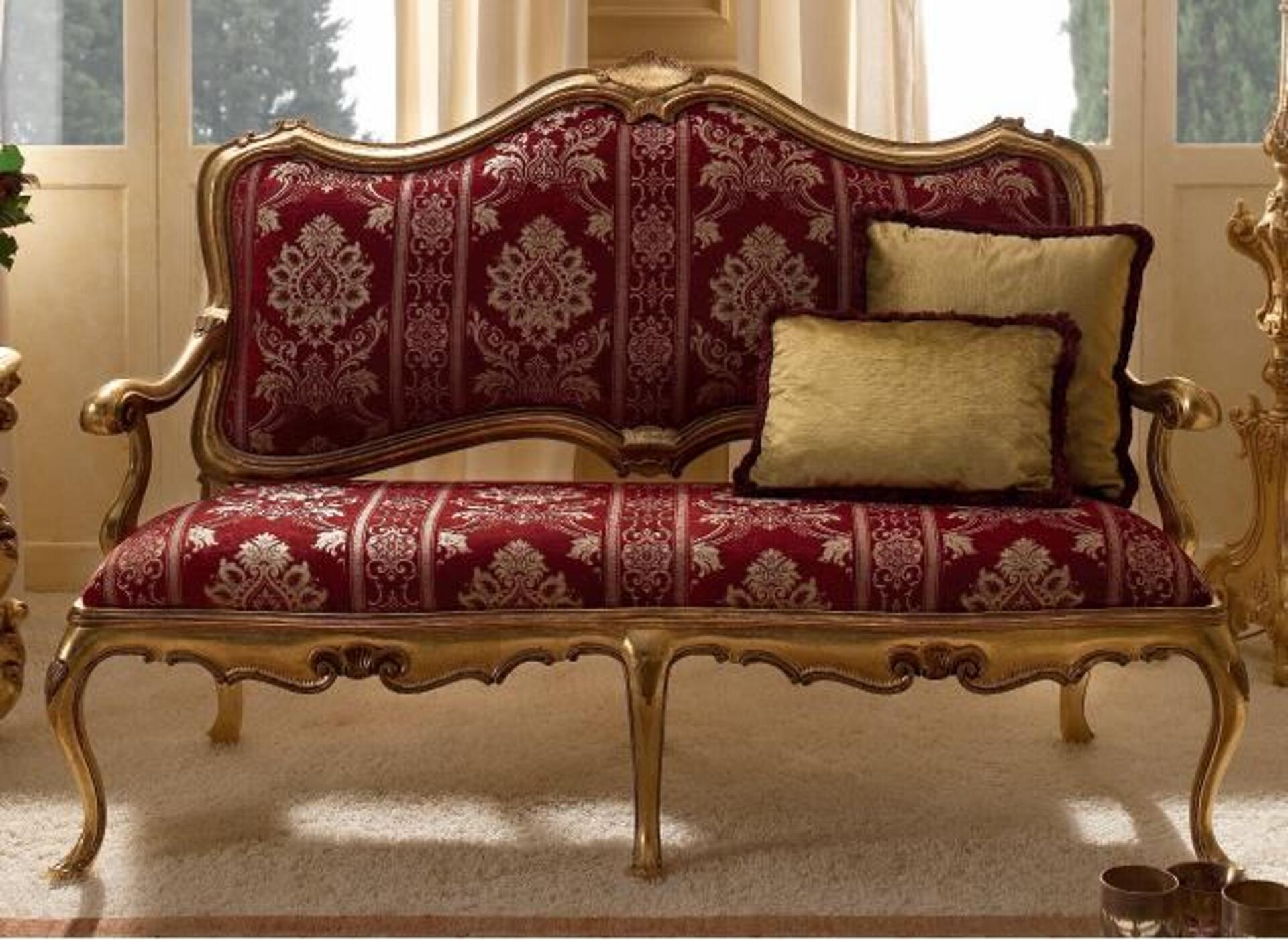 divano di lusso laccato foglia oro a 2 posti intagliato a