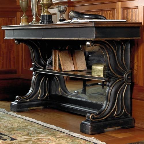 importante consolle intagliata e scolpita laccata nero consuma in legno nobile di noce massello lussuosa produzione made in italy