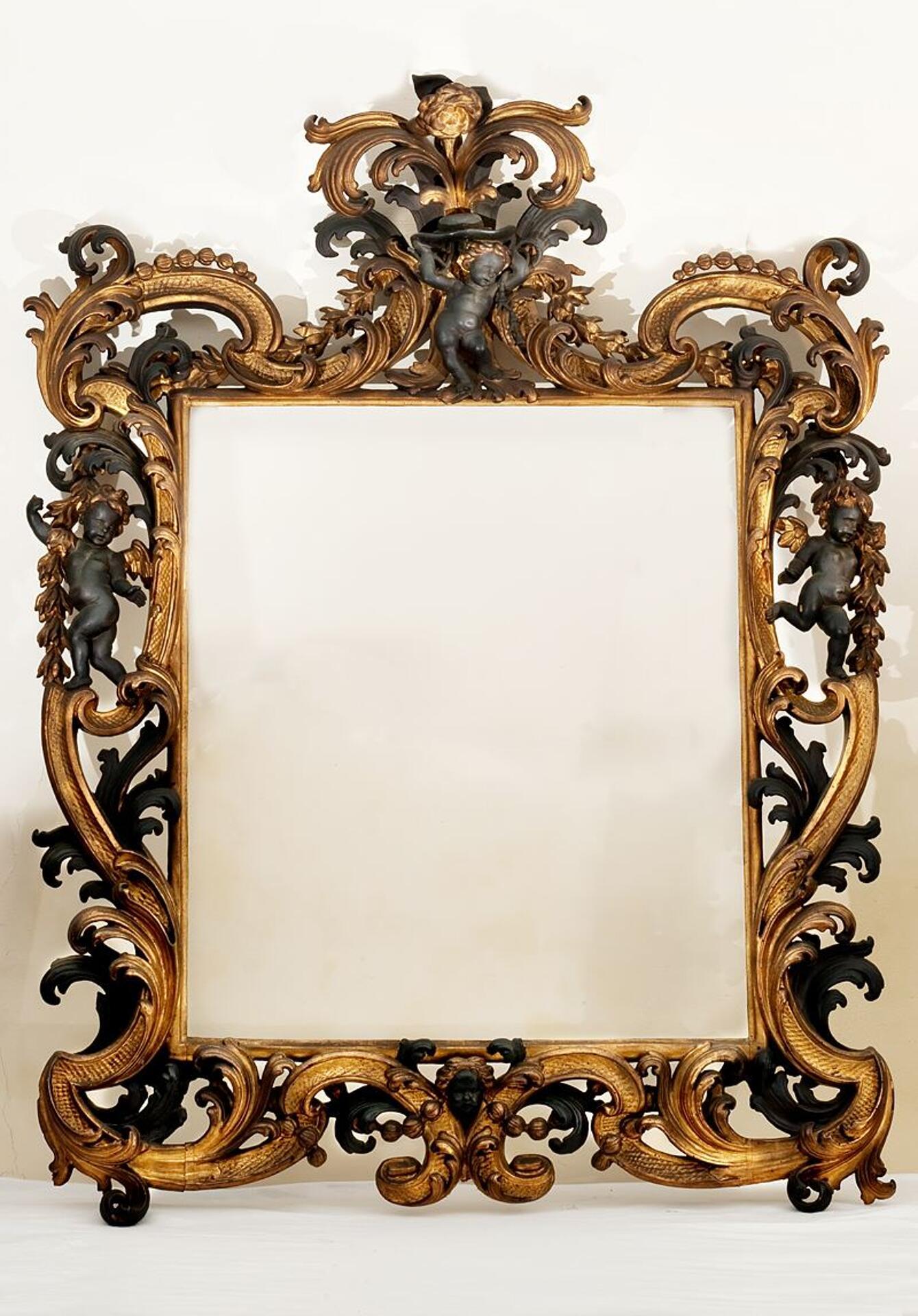 Importante specchio con cornice emiliano intagliato a mano - Specchio cornice nera barocca ...