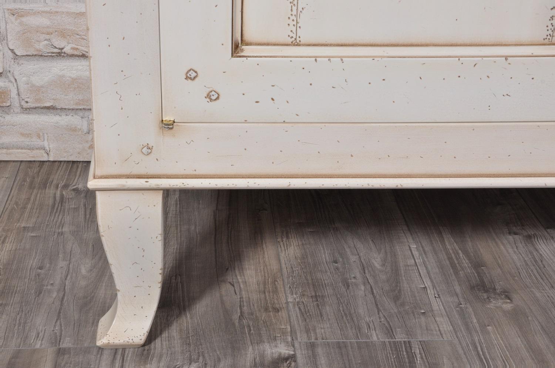 Credenza di grandi dimensioni laccata bianco anticato con gambe a sciabola mobili vangelista - Mobili legno bianco anticato ...
