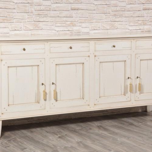 credenza di grandi dimensioni con gambe alte a sciabola laccata bianca realizzazione di lusso a 4 ante e 4 cassetti