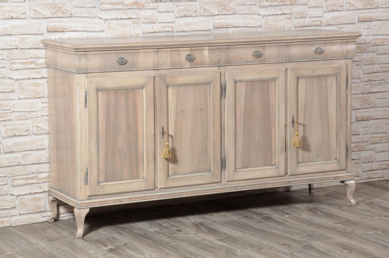 Ricercata credenza intarsiata in legno di noce realizzata - Mobili legno bianco anticato ...
