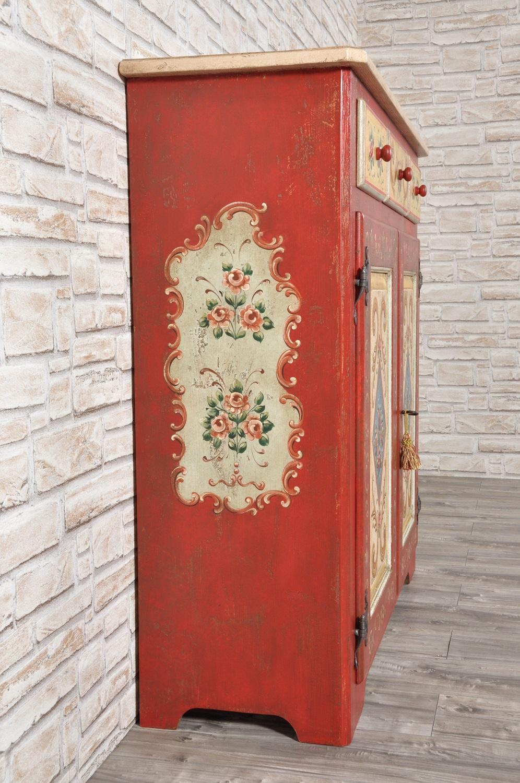 Credenza dispensa decorata a mano con motivi floreali e for Disegni mobili