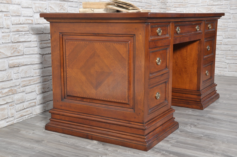 scrivania per studio di lusso intarsiata con 7 cassetti in