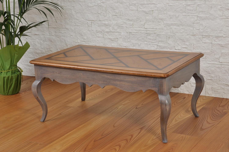 Tavolino Salotto Provenzale.Tavolino Da Salotto Intarsiato Bicolore In Stile Provenzale