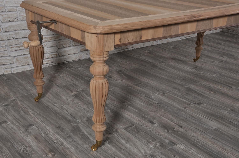 Tavolo allungabile rettangolare con manovella a scorrimento for Gambe di legno