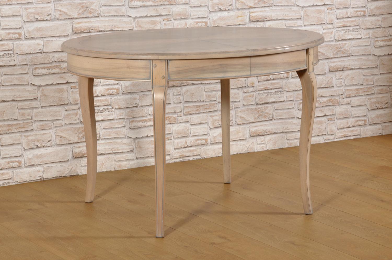 tavolo ovale allungabile di lusso riprodotto in stile Provenzale nelle essenze di ciliegio e piuma di noce costruito su misura lucidato sbiancato grigio