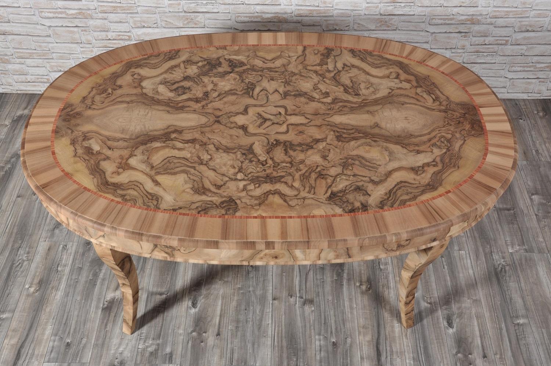 Tavolo ovale \'700 Veneziano in radica di noce con gambe a sciabola