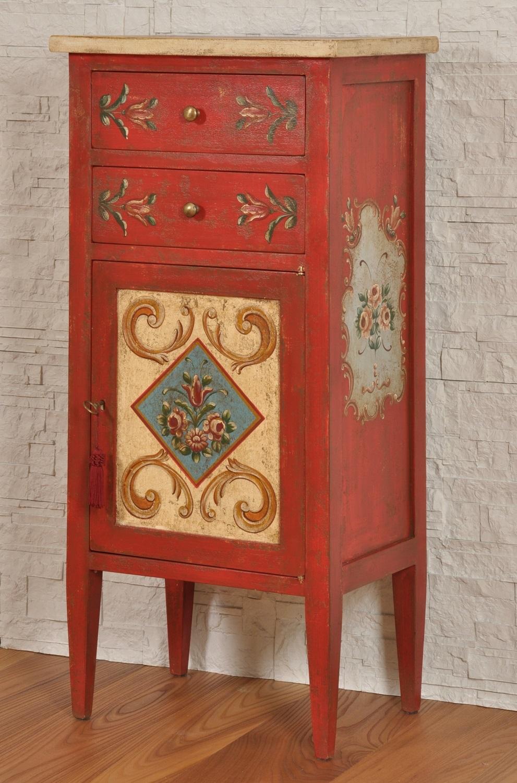 Mobiletto da ingresso decorato a mano con colori vivaci a - Stile barocco mobili ...