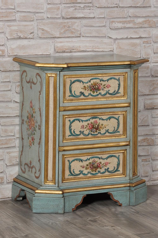 Cassettiera di lusso laccata e decorata a mano con fiori e - Mobili stile veneziano ...