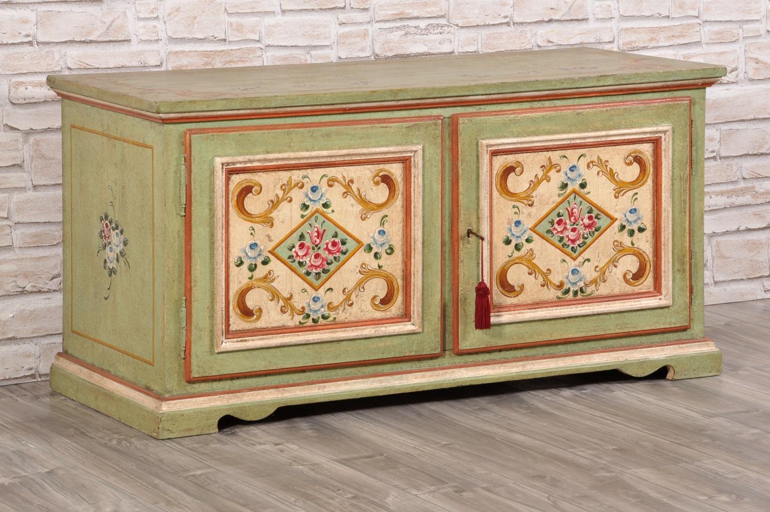 credenza porta tv a 2 ante di lusso decorato a mano in stile classico ...