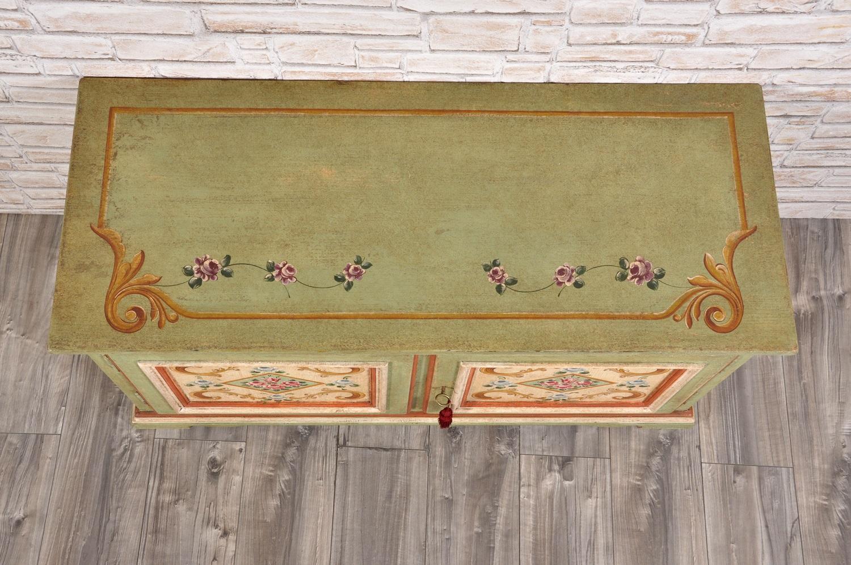 Credenza porta tv di lusso a 2 ante dipinta a mano con fiori e ...