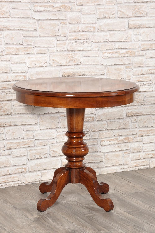 Tavolo rotondo da salotto o ingresso intarsiato con essenze esotiche e gambone tornito mobili - Tavolo rotondo con piede centrale ...