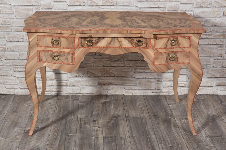 scrivania in radica di noce con intarsio in legno esotico bois de rose