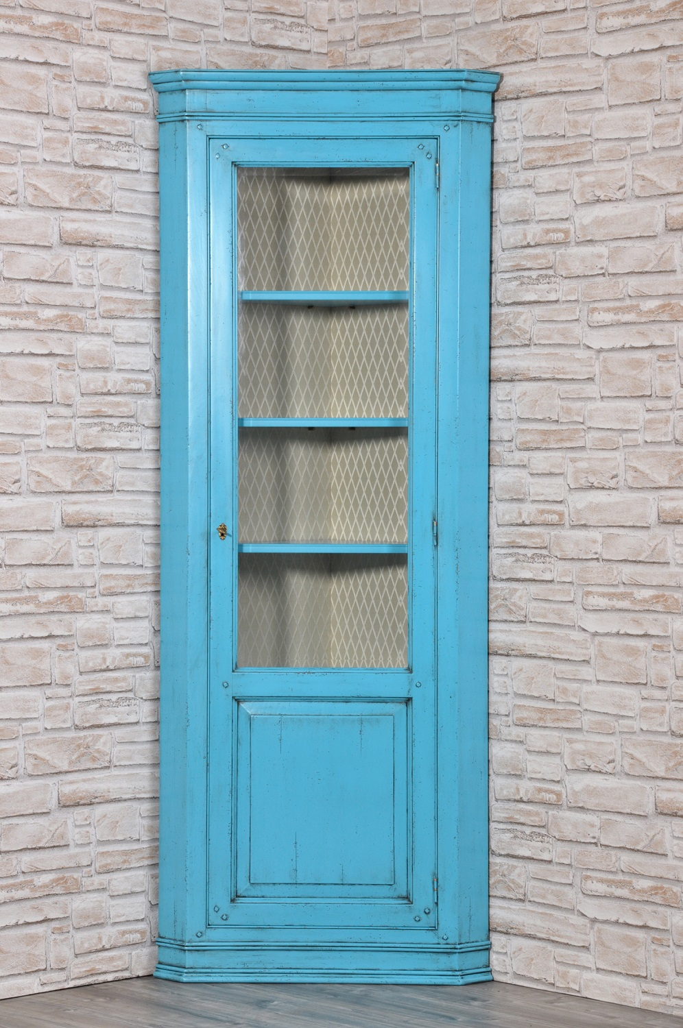 Legno Laccato Su Misura single leaf door antiqued turquoise-lacquered display