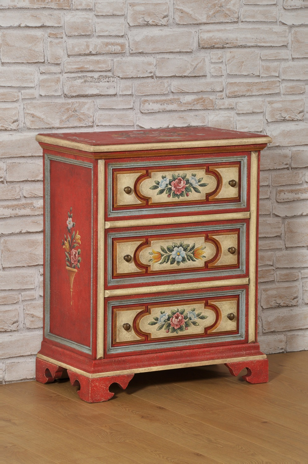 Tre Di Mobili.Classic Tyrolean Bedside Cabinet With Three Ashlar Drawers