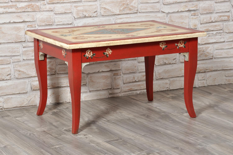 tavolino da tè decorato a mano in stile tirolese arredo per prestigiose case e lussuose residenze montane