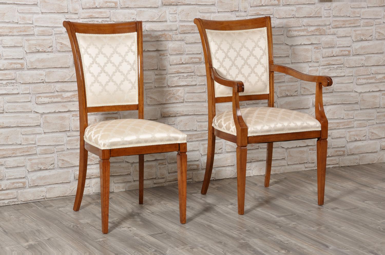 Elegante sedia in stile luigi xvi in noce con le gambe a for Sedia e maschile o femminile