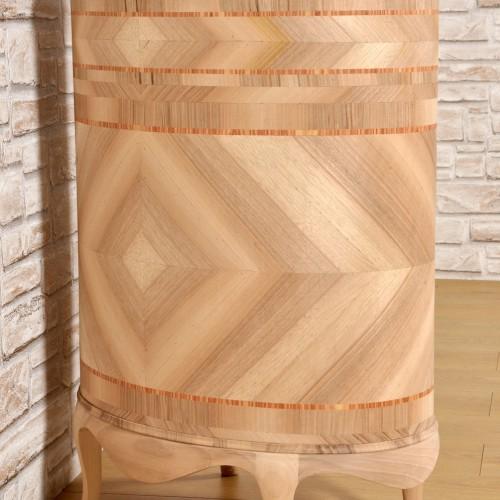 lavorazioni del 700 di lusso e di pregio prodotte come il modello originale del mobiletto credenza ovale intarsiato a spina di pesce e legno di rosa