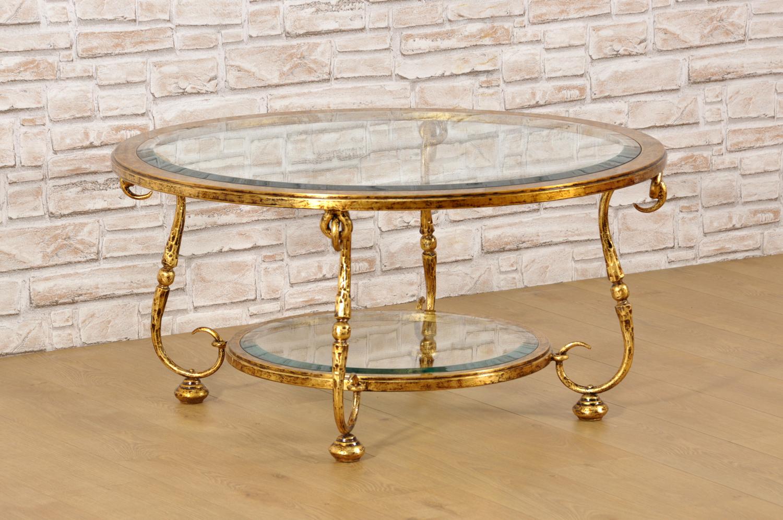 Tavolini Da Salotto Classici In Foglia Oro.Tavolo Da Salotto Rotondo In Ferro Battuto Dorato In Foglia