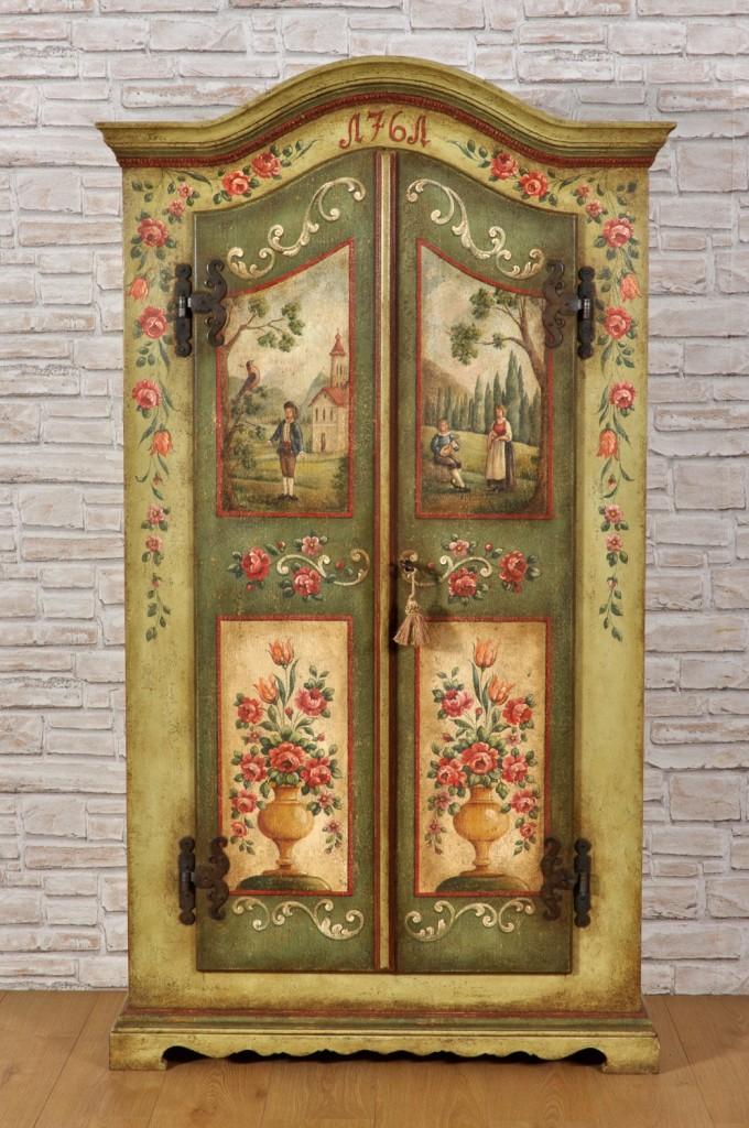 dispensa di lusso con ricche decorazioni armadio con cimasa sagomata di ridotte misure dipinto a mano come il modello del 700 originale cerniere forgiate a mano in ferro battuto